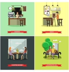 set of coffee house concept design elements vector image vector image