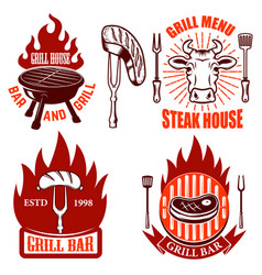set of grill emblems and labels steakhouse vector image vector image