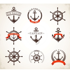Set of vintage nautical icons and symbols vector image vector image