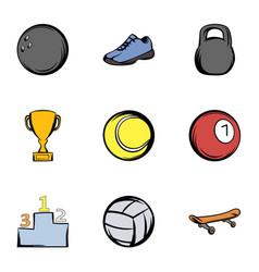 sport training icons set cartoon style vector image