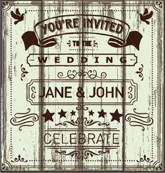 Vintage Wooden Wedding Invitation vector image vector image