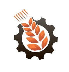 Emblem representing industry and agriculture vector image vector image