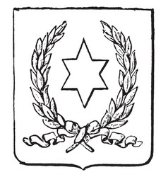 paraguay coat of arms have six-pointed star seal vector image