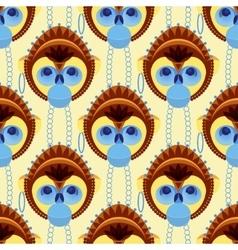 Seamless pattern of geometrically stylized monkey vector image