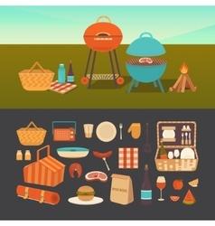 Set of summer picnic vector image