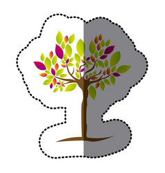 tree with many leaves of colors icon vector image