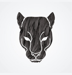 black panther head puma face leopard tiger vector image vector image