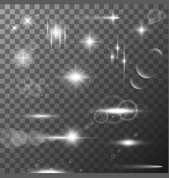 collection of different flare light effects lens vector image