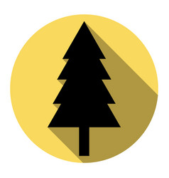 new year tree sign flat black icon with vector image