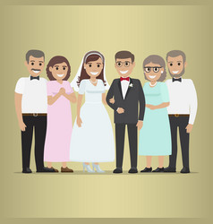 newly married couple with parents-in-law vector image