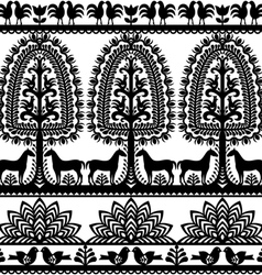 Seamless floral Polish folk art pattern Wycinanki vector image