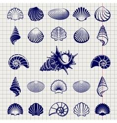 Sketch of sea shells vector image vector image