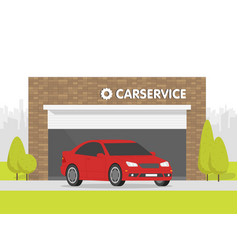 automobile repair shop garage the car on vector image
