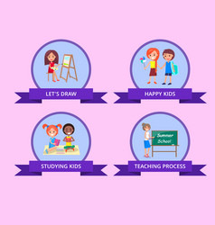 children spending time by studying poster vector image vector image