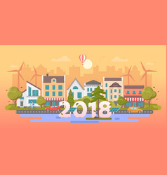 Eco city - modern flat design style vector