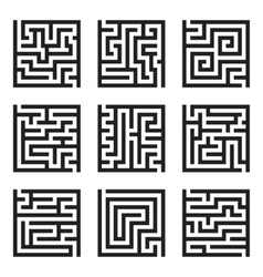 Nine simple maze isolated set vector image vector image