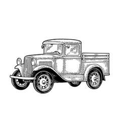 retro pickup truck side view vintage black vector image