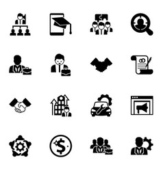 16 corporate filled icons set isolated on white vector
