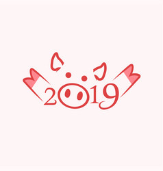 2019 happy chinese new year of the pig vector image