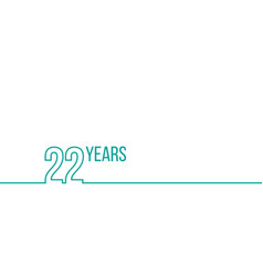 22 years anniversary or birthday linear outline vector