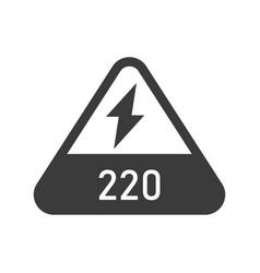 220 volts triangular shaped sign bold black vector image