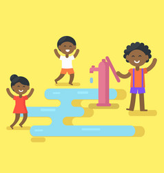 African children play with water vector