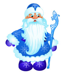 Animated santa claus in blue christmas costume vector