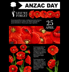 anzac day lest we forget poppy poster vector image