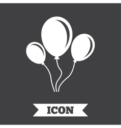 Balloon sign icon Air balloon with rope vector image