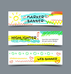 Banner with marker strokes vector