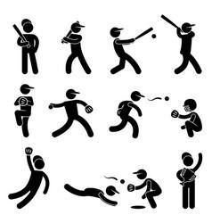 baseball softball swing pitcher champion icon vector image