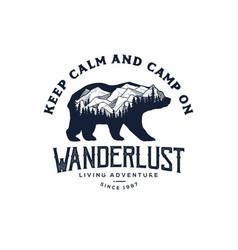 Bear with mountain camping logo vector