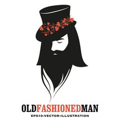 bearded man wearing a top hat decorated with vector image