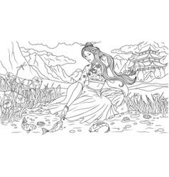 Beautiful geisha by the lake vector
