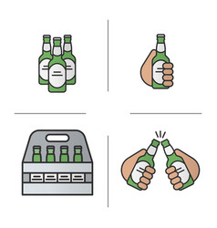 Beer color icons set vector
