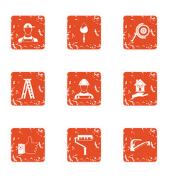 Building plot icons set grunge style vector