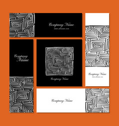 business cards design labyrinth square vector image
