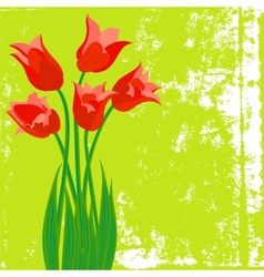 Card with red tulips on textured background vector