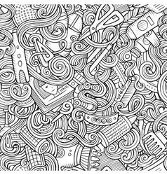 Cartoon cute doodles hairdressing salon seamless vector image