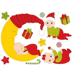 Christmas babies set vector