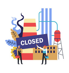 closed factory with workers losing their job vector image