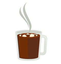 Cocoa or hot chocolate with marshmallow in glass vector