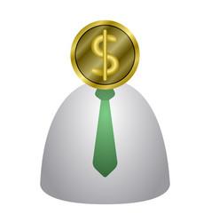 Coin head businessman icon vector