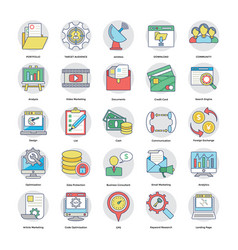 Collection of flat digital and internet marketing vector