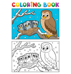 coloring book owl theme 1 vector image