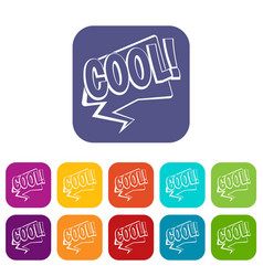 Cool comic text speech bubble icons set flat vector