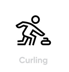 curling sport icons vector image
