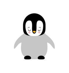 cute baby sleeping penguin standing on white vector image