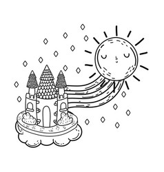 cute fairytale castle with rainbow and sun kawaii vector image