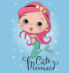 cute mermaid on a blue background vector image